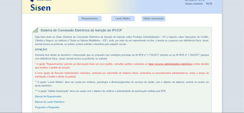 Site para solicitação de isenção de impostos sobre carro para PCD