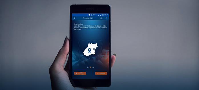 Imagem do Aplicativo Detran GO ON. O aplicativo permite que vários serviços do Detran sejam feitos de maneira remota